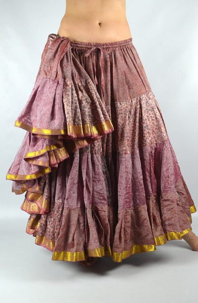 25 Yard Silk Sari Skirt - Old Rose