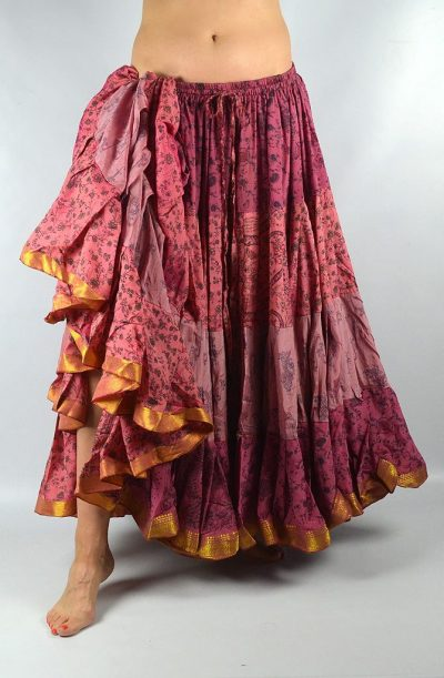 25 Yard Silk Sari Skirt - Pink