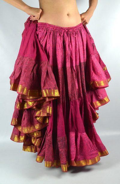 25 Yard Silk Sari Skirt - Raspberry
