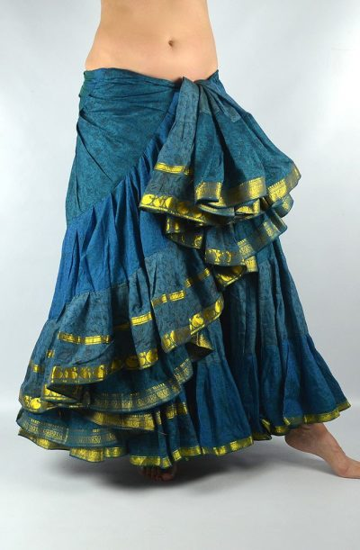 25 Yard Silk Sari Skirt - Teal