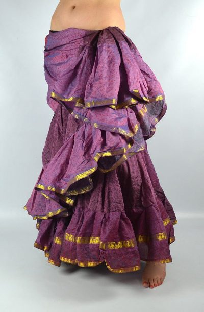 25 Yard Silk Sari Skirt - Purple
