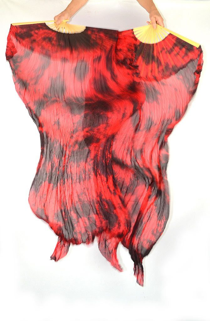 Fan Veils Red Tie Dye