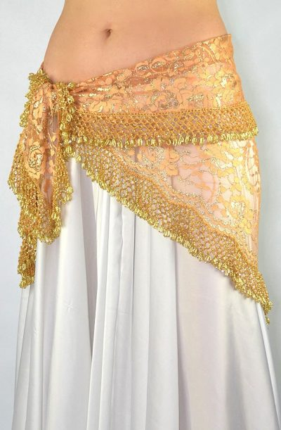 Belly Dance Hip Belt - Pink Lace