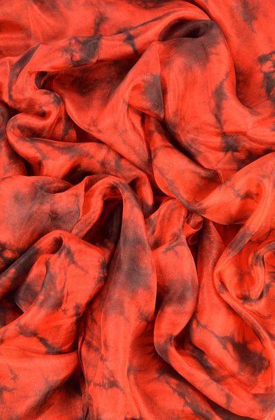 Silk Veil Tie Dye - Red and Black