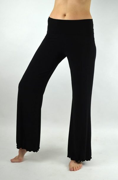 Dance Pants - Fold Over Waist Black