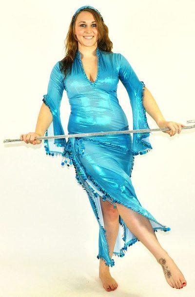 3 Piece Shiny Galabeya - Turquoise