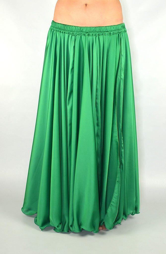 Silk Satin Skirt - Emerald Green