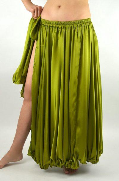 Silk Satin Skirt - Olive Green