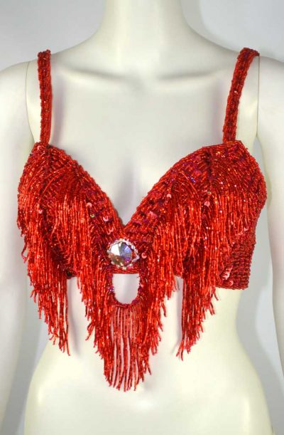Belly Dance Beaded Bra - Red