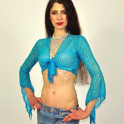 Sparkly Gypsy Top - Turquoise