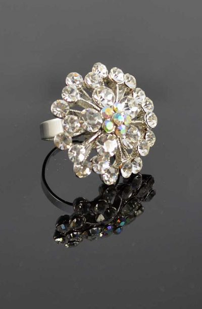 Diamanté Flower Ring