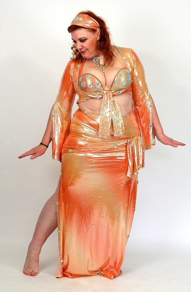 6d600b57e1521 Saidi Galabeya - Peach Melba by Yasmin | Bellydance Boutique UK