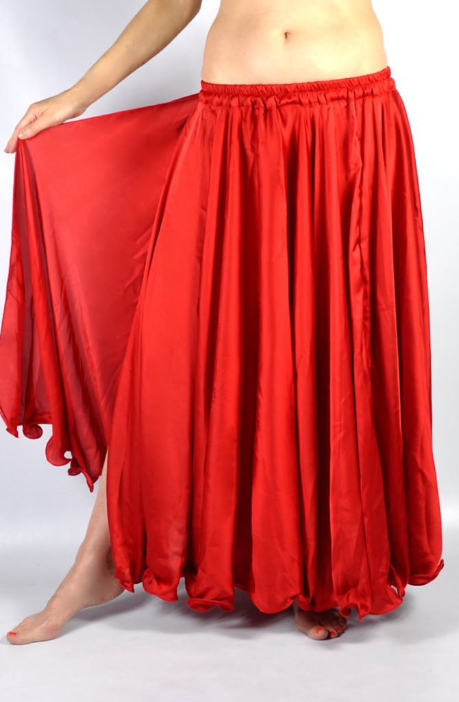 Silk Satin Skirt - Red