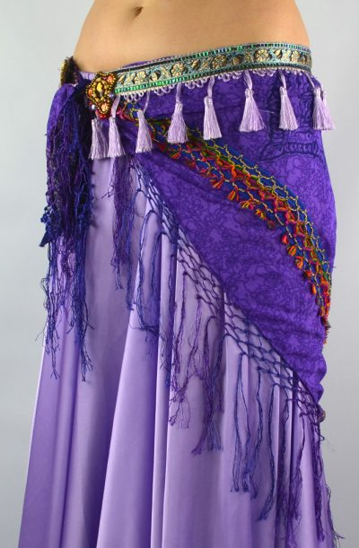 Tribal Tassel Chiffon Hip Scarf - Purple