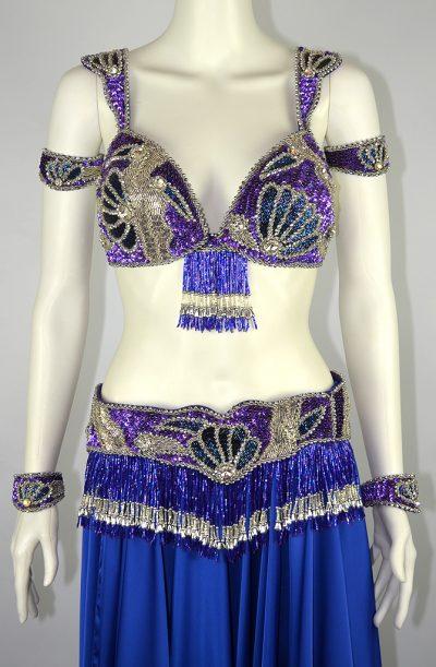 Bra & Belt Set - Blue, Purple & Silver