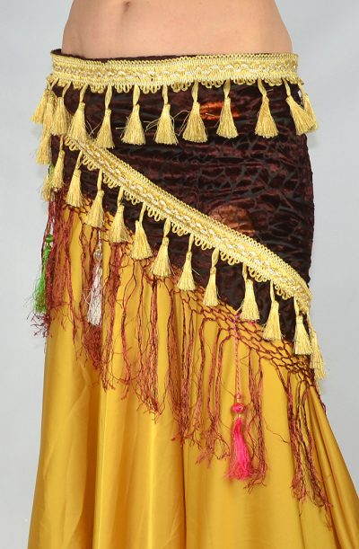 Devoré Tassel Hip Scarf - Burgundy & Gold