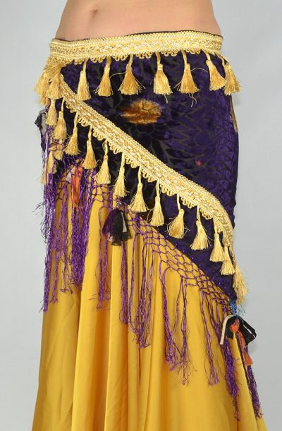 Devoré Tassel Hip Scarf - Purple & Gold