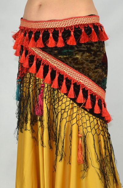 Devoré Tassel Hip Scarf - Red & Black