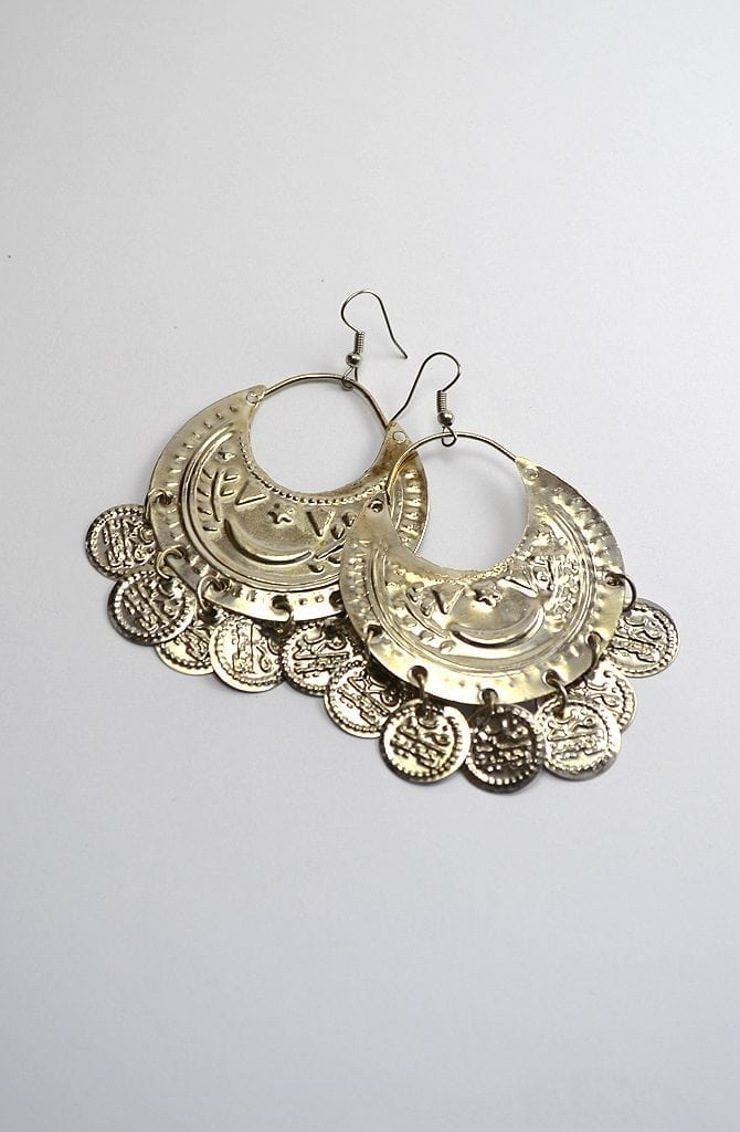 Egyptian Earrings - Silver Moon & Coins