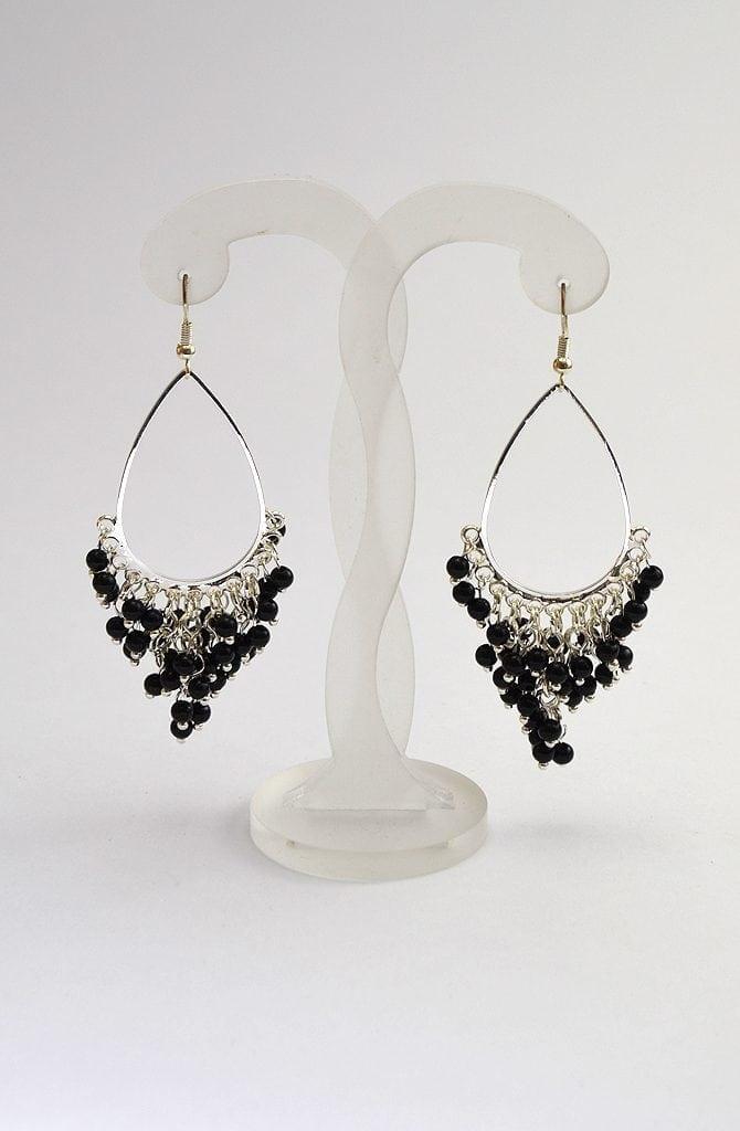Beaded Earrings - Silver