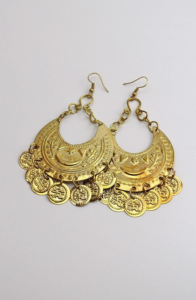 Egyptian Earrings - Moon & Coins