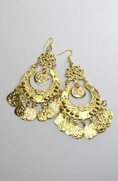 Egyptian Earrings - Long Scarab with Coins
