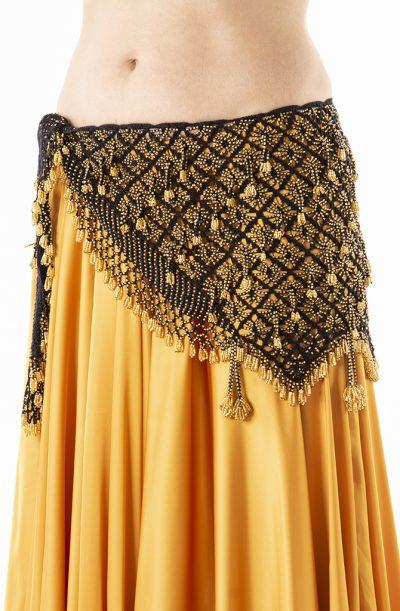 Belly Dance Hip Belt - Crochet in Black & Gold