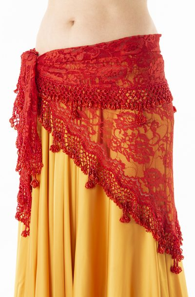 Belly Dance Hip Belt - Red Lace