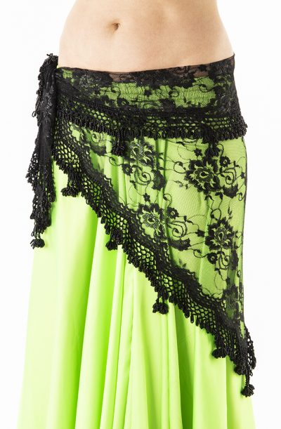 Belly Dance Hip Belt - Black Lace