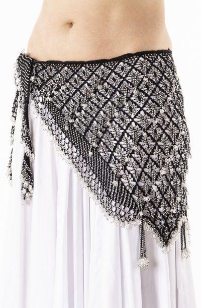 Belly Dance Hip Belt - Crochet in Black & Silver