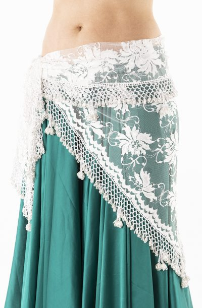Belly Dance Hip Belt - White Lace