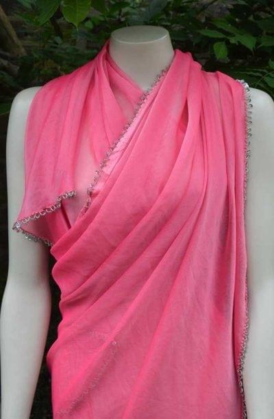 Chiffon Veil - Semi-circular - Pink & Gold