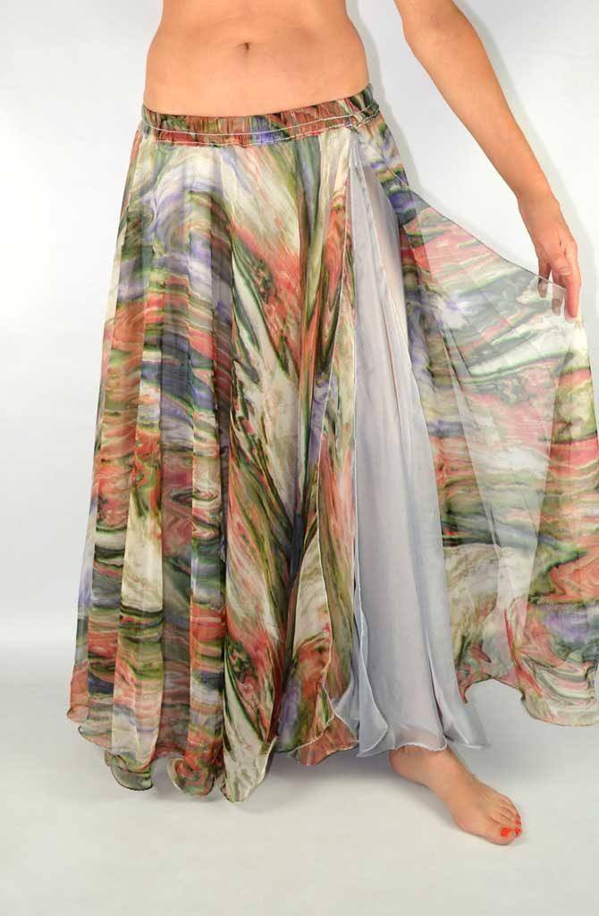 Double Chiffon Skirt - Multi & Silver
