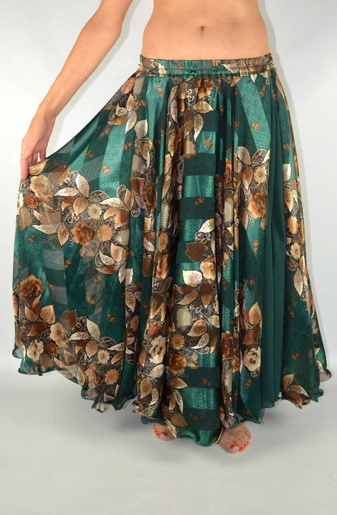 Double Chiffon Skirt - Green & Coffee Devoré