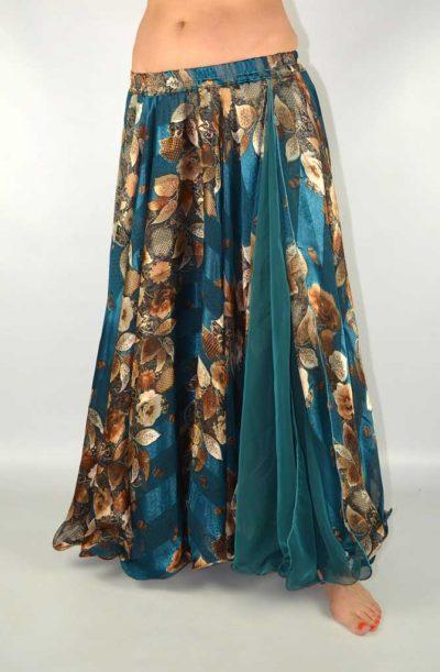 Double Chiffon Skirt - Teal & Coffee Devoré