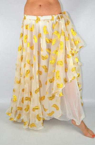 Double Chiffon Skirt - Ivory & Gold Leaf