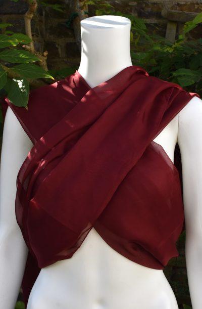 Chiffon Veil - Rectangular Burgundy