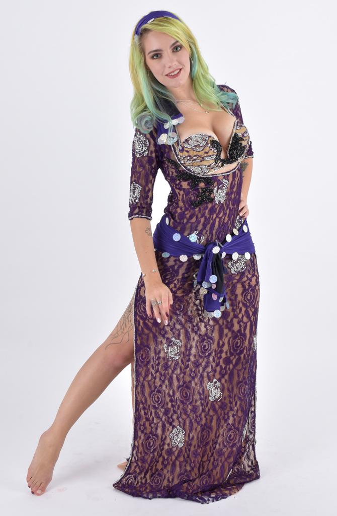 eca4c7dac7ae7 4 Piece Galabeya - Purple Lace by Eman Zaki   Bellydance Boutique UK