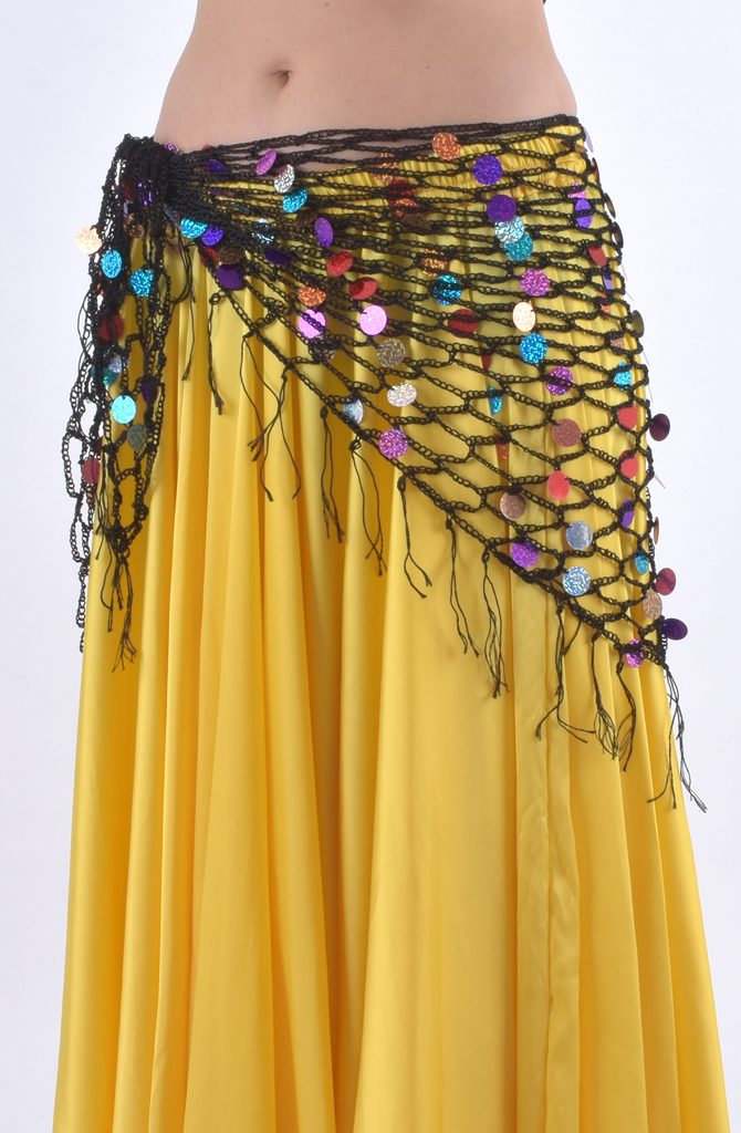 Belly Dance Hip Scarf - Black & Multi Crochet