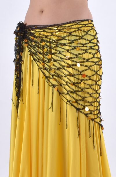 Belly Dance Hip Scarf - Black & Gold Crochet