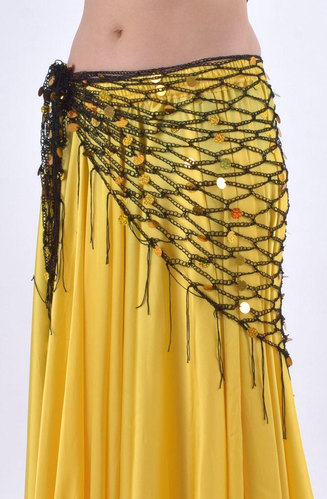Belly Dance Hip Scarf - Black & Gold Crochet