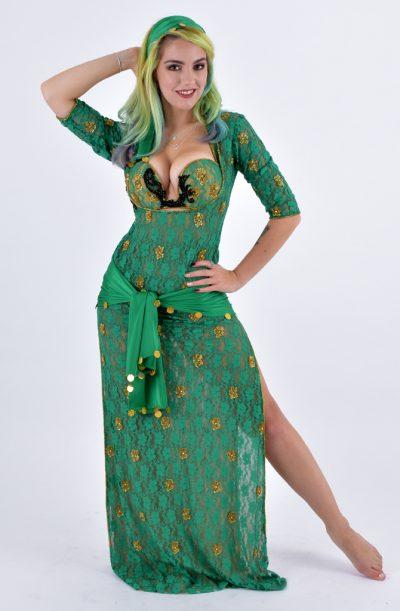 5 Piece Galabeya - Green Lace by Eman Zaki