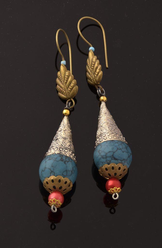 Tribal Earrings - Blue Cone