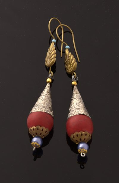 Tribal Earrings - Red Cone