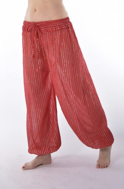 Lurex Harem Pants - Red