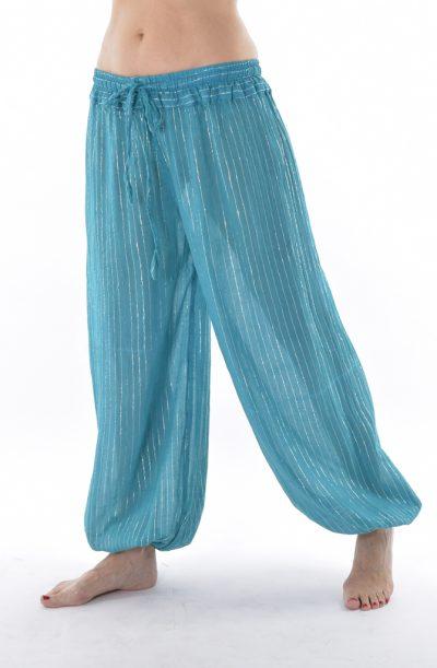 Lurex Harem Pants - Turquoise