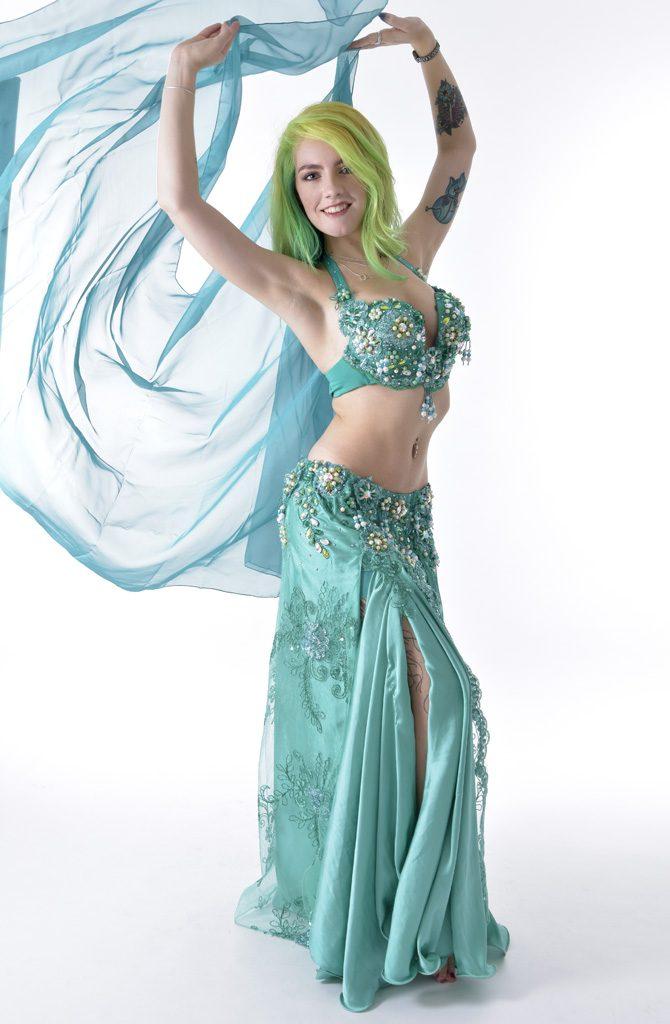Belly Dance Costume - Aqua Pearl