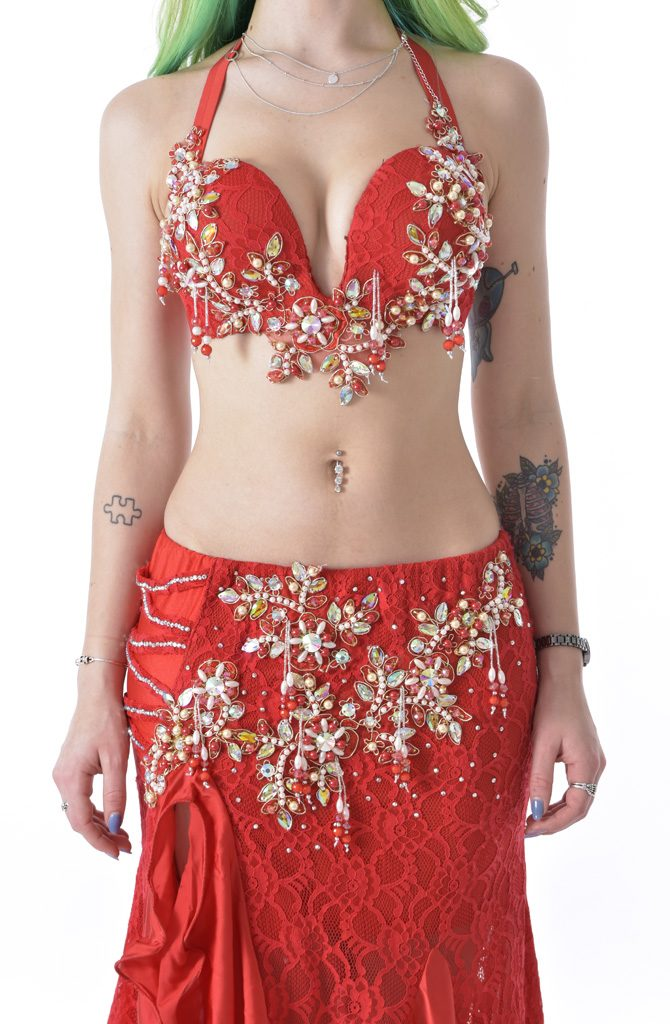 Belly Dance Costume - Red Ruffle by Amr Naser