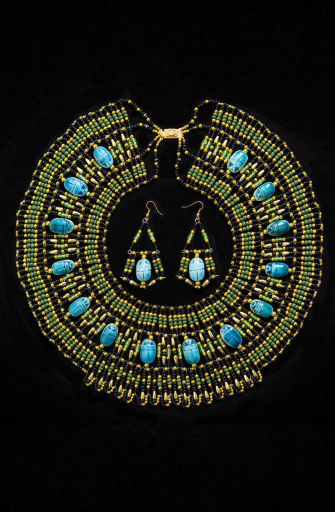 Pharaonic Necklace & Earring Set - Green & Gold