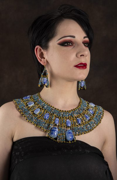 Pharaonic Necklace & Earring Set – Blue & Gold